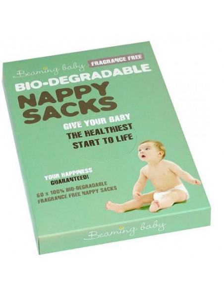 Beaming Baby, Biodegradowalne Bezzapachowe Worki na Zużyte Pieluszki, 60 szt.
